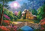 Castorland C-104208-2 Cottage in The Moon Garden, 1000Te Puzzle, bunt