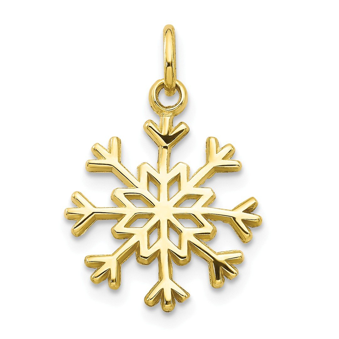 10k Yellow Gold Solid Snowflake Pendant Charm Necklace Winter Fine Jewellery For Women Gifts For Her