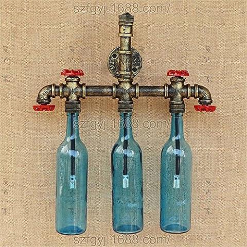 Tuyau d'eau Bouteille de vin wall lamp retro industrial corridor du vent décorer l'individualité wall lamp, bleu