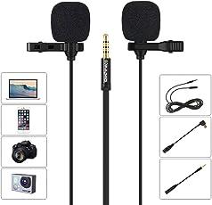 Dual Lavalier Ansteckmikrofon, Szeshineco 3,5mm Omnidirektionaler Kondensator Clip-on Mic Set für Smartphone, Laptop, PC, Kamera, GoPro und mehr