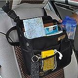 FakeFace Wasserdichte Nylon Autorücksitztasche mit Klickverschluss Rücksitz Organizer Rückenlehnentasche Utensilientasche für Handy iPad 23 x 28 x 10 CM (Schwarz)