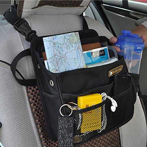 FakeFace Wasserdichte Nylon Autorücksitztasche mit Klickverschluss Rücksitz Organizer Rückenlehnentasche Utensilientasche für Handy iPad 23 x 28 x 10 CM