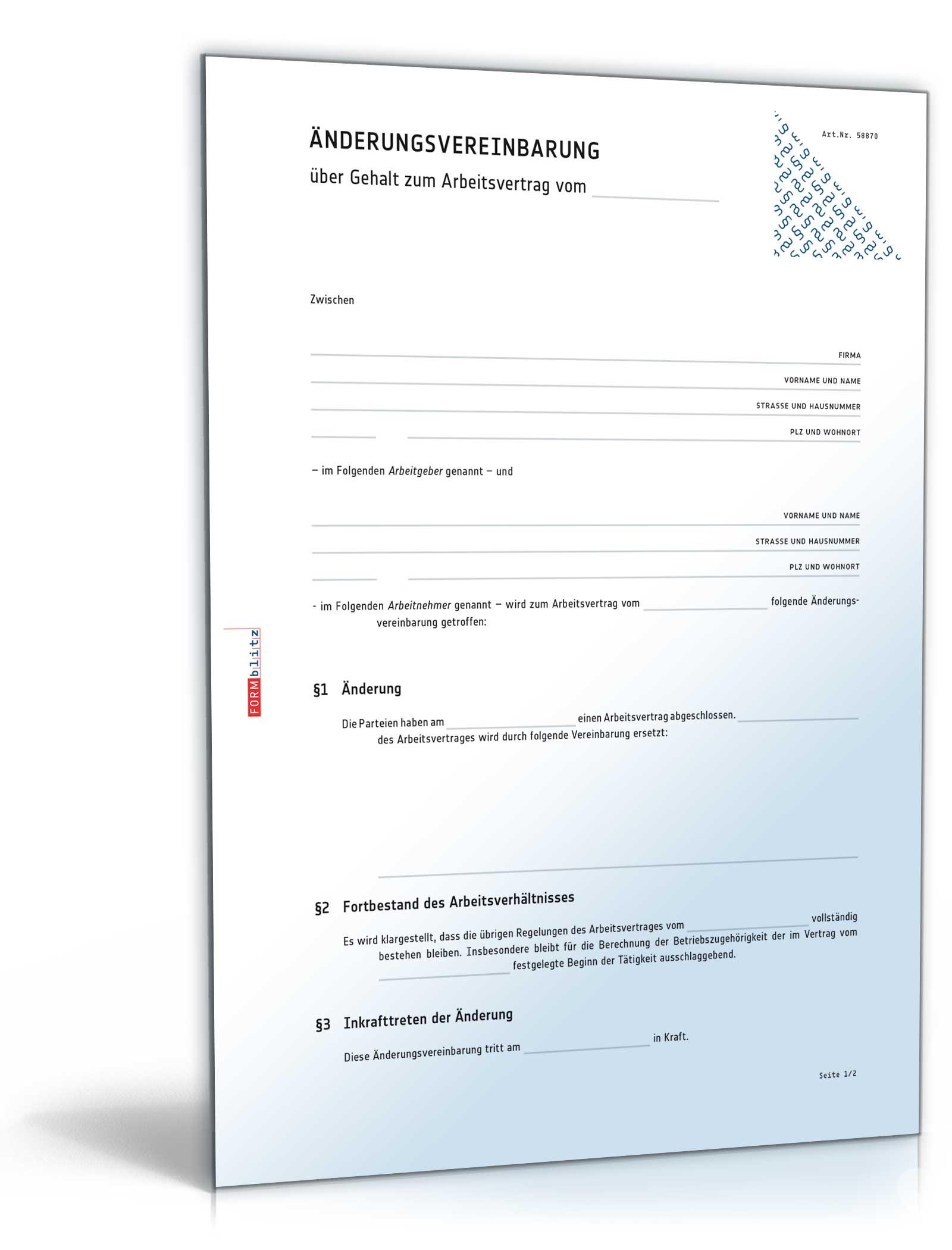 Änderungsvereinbarung Gehalt [Word Dokument]