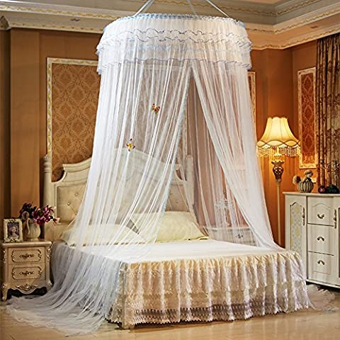 Round Princess Bed Mosquito Nets for Kids Girls Lace Polyester Insect Bed Canopy Netting Curtain Dome Circular Mosquito Net for Twin Crib Full Queen Bed Bedroom Decor Wedding Gift