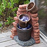 Solar Cascading Plant Pots Garden Patio Water Feature with LED Lights and Battery Back Up - Direct Global Trading - amazon.co.uk