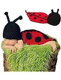 Tenflyer Escarabajo del estilo lindo bebé recién nacido Atrezzo fotografía hecha a mano de ganchillo Beanie Hat ropa de bebé