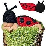 Hrph Escarabajo del estilo lindo bebé recién nacido Atrezzo fotografía hecha a mano de ganchillo Beanie Hat ropa de bebé