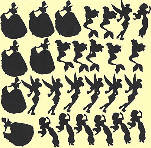 Disney Prinzessinnen Jasmine Meerjungfrau Cinderella Tinkerbell Vinyl Aufkleber Aufkleber (schwarz)