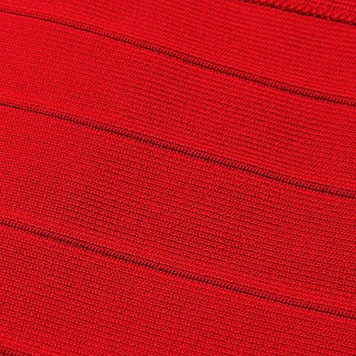 HLBandage Women Plain Off The Shoulder Vest Bandage Top Rosso