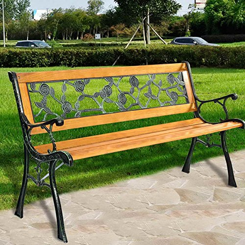 Gartenbank Parkbank Sitzbank Holzbank Gusseisen/Hartholz im romantischen Rosendesign 125x52x73cm - 3