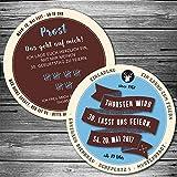 Echte Bierdeckel als Einladung zum Geburtstag (25 Stück) Retro blau, braun einladungskarte als Biermarke, Brauerei mit Label, Striche, individuelle Bierdeckel-Einladungskarte