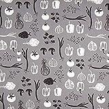 Fabulous Fabrics Halbpanama Botanica – grau/schwarz —
