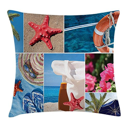 Lepilo Beach Throw Pillow Cushion Cover, Collage of Summer Vacation Photos Starfish Palm Tree Hat Sunglass Flowers Flip Flops, Decorative Square Accent Pillow Case, 18 X 18 inches, Multicolor
