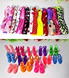 #3: 20pcs Doll Accessories (10pcs Multicolour Beautiful Handmade Party Dress Fashion Clothes + 10pcs Plastic Colourful Assorted Doll Sandals Shoes) For Barbie Doll Play House Dressing Up Costume