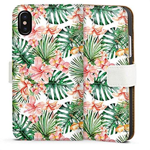 Apple iPhone X Silikon Hülle Case Schutzhülle Palmenblätter Muster Blüten Sideflip Tasche weiß
