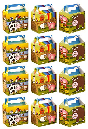 VALUE PACK 12 x Farm Yard Animal Paper Lunch Box Going Home Present Picnic Boxes by My Planet - Fun Party Animals