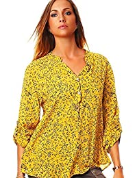 Moda Italia Fine Rayón Blusa Camisa blusa de manga larga para pesca ligera camiseta de sleeve-blouse larga túnica Flores