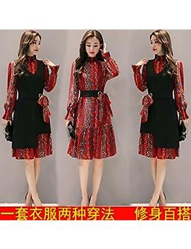 GAOLIM Imprime Chiffon Vestido De Dos Conjuntos De Trajes De Otoño Falda Floral, M, Rojo