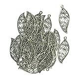 Baoblaze 30er Set Antike Blätter Handwerk Blatt Retro alt Silber DIY Charme Schmuck für DIY Schmuckzubehör Kleidung Accessoires Armband Halskette