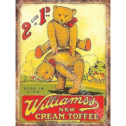 Di Williams Nuovo Crema Toffee Vecchio Inglese Da cucina Pubblicità Vintage Metallo/Targa Da Parete In Acciaio - 20 x 30 cm