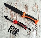 *3er Set* 33cm großes High-Tec Tanto Outdoor-Survival-Jagdmesser + Handliches Paracord Einhandmesser mit Liner-Lock-System - Reisemesser incl. 12in1 Multi-Überlebens-Card