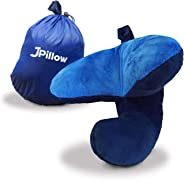 J-Pillow Travel Pillow, British Invention of The Year, Perfect Support for Head, Chin & Neck in Any Sitting Position - Dark B