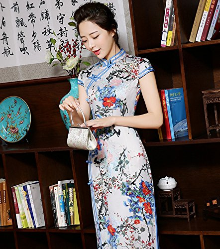 Luck Femmes Longue Cheongsam Qipao Robe Style Chinois en Polyester Couleur4