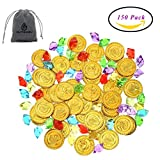 QUTAWAYLA 150 fichas de Pirata Monedas Gems Kit de Monedas de Oro de plástico acrílico Diamantes Joyas Falsas Jugar Treasure Monedas Set con el Bolso de Lazo