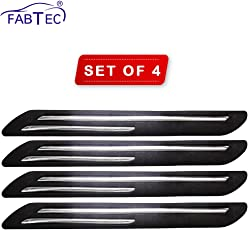Fabtec Rubber Car Bumper Protector Guard with Double Chrome Strip for Car 4Pcs - Black (for All car)