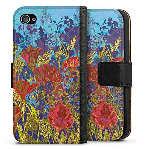 Apple iPhone X Silikon Hülle Case Schutzhülle Rote Blumen Muster Sideflip Tasche schwarz