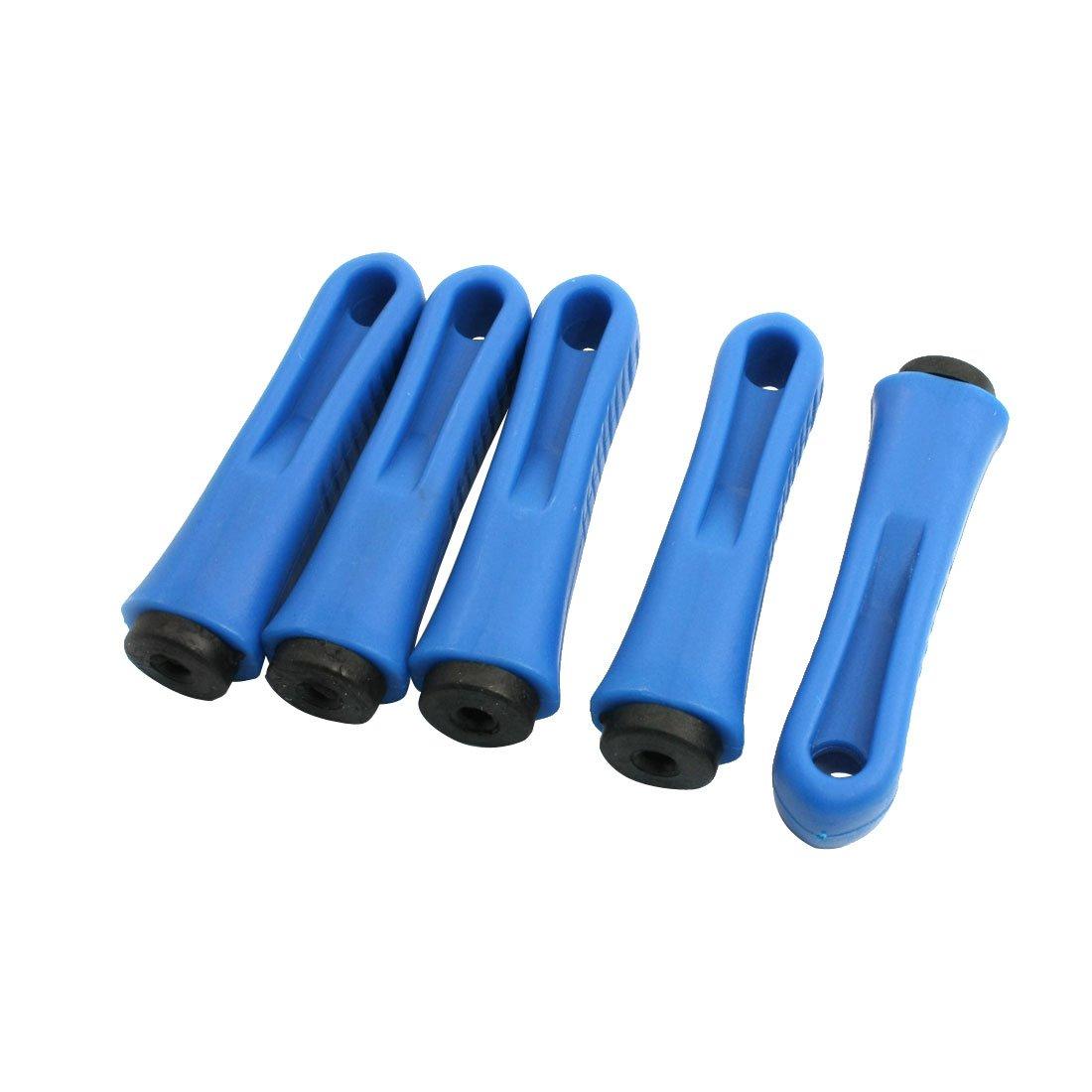 sourcingmap® 5 PC 5,5 mm diam. foro di plastica di testurizzazione di manico Nero Blu