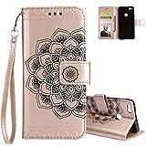 Aeeque Pochette Coque Huawei P10 Lite Rose Or Mandala Fleur Motif Flip Cover Simili...