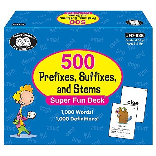 500 Prefixes, Suffixes, and Stems Fun Deck - Super Duper Educational Learning Toy for Kids