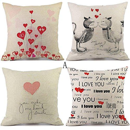 Sammoson 4 pezzi cuscino quadrato cuscino posteriore cuscino per san valentino decorazione camera da letto divano 18 * 18 pollici 26a