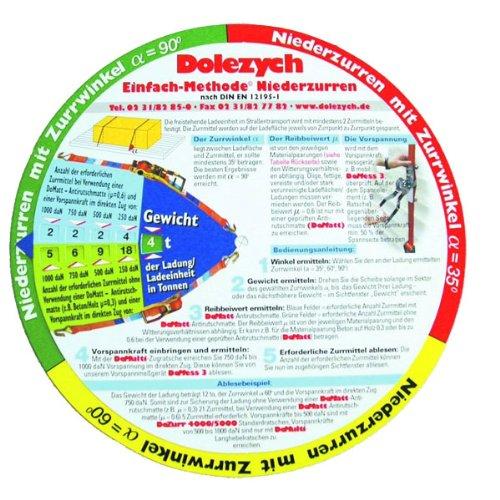 Preisvergleich Produktbild Dolezych Trucker's Disc zur Ermittlung der erforderlichen Ladungssicherung 2 Seiten: Niederzurren und Diagonalzurren Ermittlung der ordnungsgemäßen Ladungssicherung