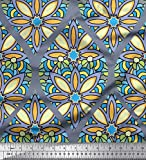 Soimoi Blau Seide Stoff Blumen & Ogee Damast Stoff