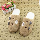 Brezeh Women Slippers Lovely Bear Home Floor Soft Stripe Slippers Boot Shoes (Coffee, 38)