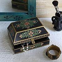 San Valentino regalo, Fatto a mano scatola decorativa di stoccaggio di monili nero con splendidamente dipinto a mano desing floreali e bordo dorato