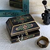 Store Indya Decorative Wooden Necklace Watch Bracelet Holder Box Keepsake Jewellery Trinket Holder Storage Organiser with Hand Painted Floral Design - Store Indya - amazon.co.uk