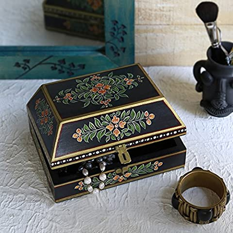 Store Indya Decorative Wooden Necklace Watch Bracelet Holder Box Keepsake Jewellery Trinket Holder Storage Organiser with Hand Painted Floral Design