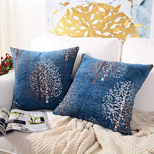 Chenille-2 Stück (MERNETTE 2 Stück Chenille Weiche Dekorative quadratische Überwurf-Kissenbezüge Kissenbezüge Home Decor Dekoration für Sofa Couch Bett Stuhl 45x45 cm (Baum Marineblau))