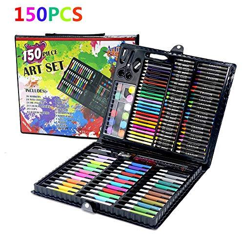 150 pièces Kids Art Set pastel à l'huile, pinceau d'aquarelle Crayon esquisse peinture ensemble cadeaux d'art pour enfants