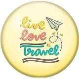 AVI Yellow Metal Fridge Magnet with Positive Quotes Live Love Travel Design MR8001060