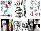 GEOMETRISCHE TATTOOS LINIEN TATTOO WASSERFARBEN TATTOOS FEDER TRAUNFÄNGER TATTOOS 4 Bögen SET FAKE TATTOOS FLASH TATTOOS 2018 Set 2