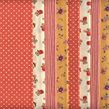 Set de telas - 8 telas (mandarina) - colección de telas de coordinación (pequeños diseños) - 4 diseños (x2)   100% algodón   46 x 56 cm