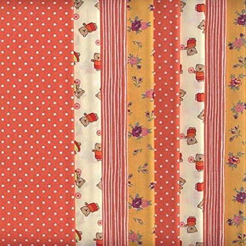 Set de telas - 8 telas (mandarina) - colección de telas de coordinación (pequeños diseños) - 4 diseños (x2) | 100% algodón | 46 x 56 cm