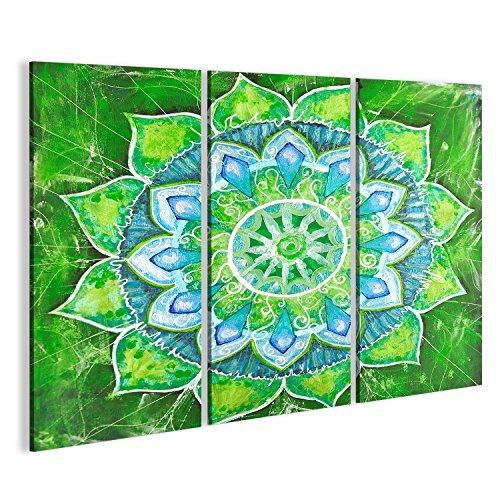 Cuadro Cuadros Cuadro abstracto pintado de verde con patrón de círculo, mandala de Anahata Impresión sobre lienzo - Formato Grande - Cuadros modernos