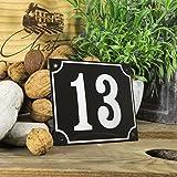 Emaille Hausnummernschild 13 - Wählen Sie Ihre Nummer - Zahlen 1 bis 99 verfügbar - schwarz/weiß Groß 18x15 cm - sofort lieferbar! Hausnummer Schild wetterfest