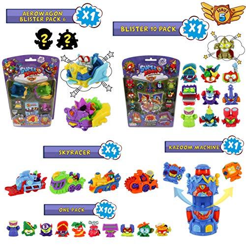 SuperZings Serie 5 - Blíster Pack 10 SuperZings con 1 Dorado; Aerowagon Blíster Pack con 1 Plateado; 10 Sobres One Pack; 4 Skyracers y 1 Kazoom Machine | Juguetes y Regalos para Niños y Niñas