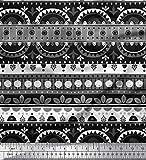Soimoi Grau Satin Seide Stoff Punkt, Streifen und Halb